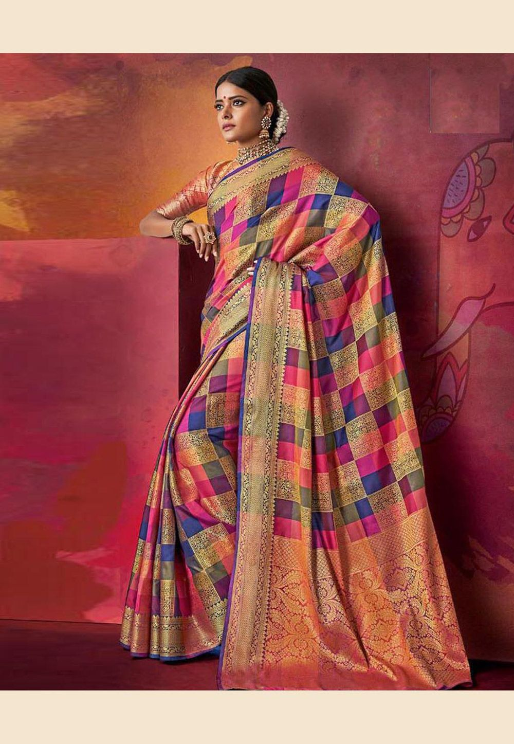 Buy Magenta Art Silk Saree With Blouse 168845 with blouse