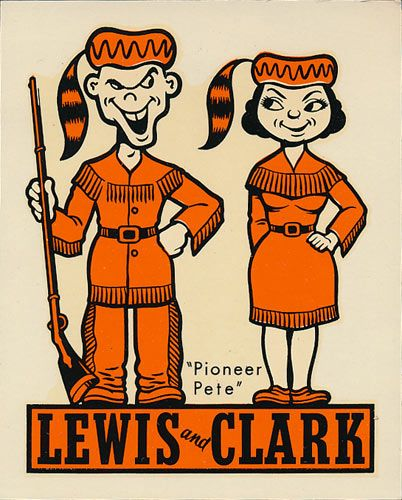 Lewis And Clark College Pioneers Decal Retro Illustration Lewis And Clark College College Decals