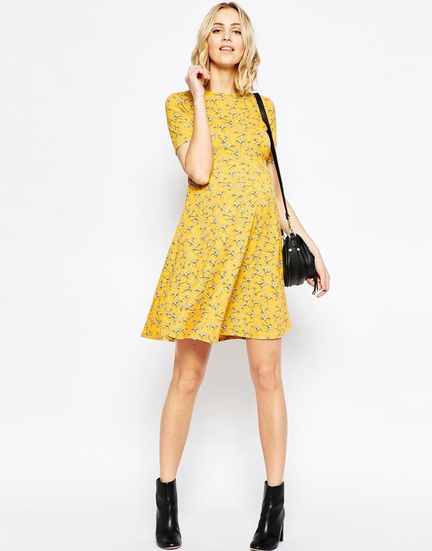 Asos maternity asos maternity skater dress in chartreuse floral