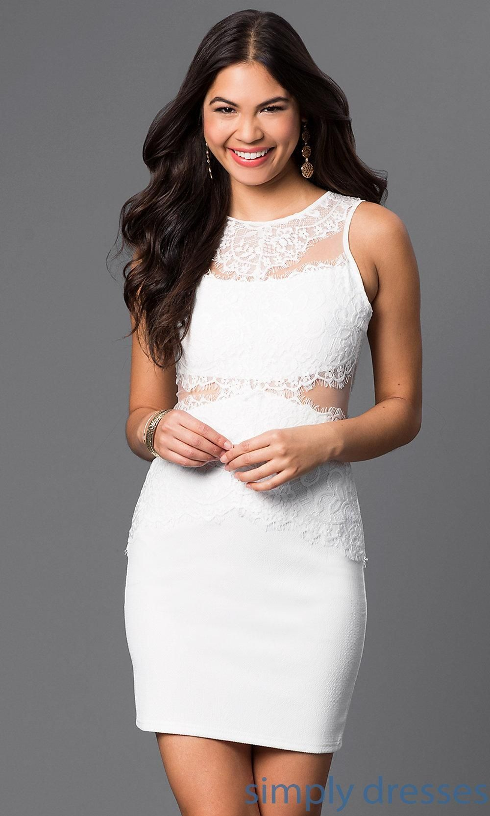Sheer and lace embellished short dress brought to you by avarsha