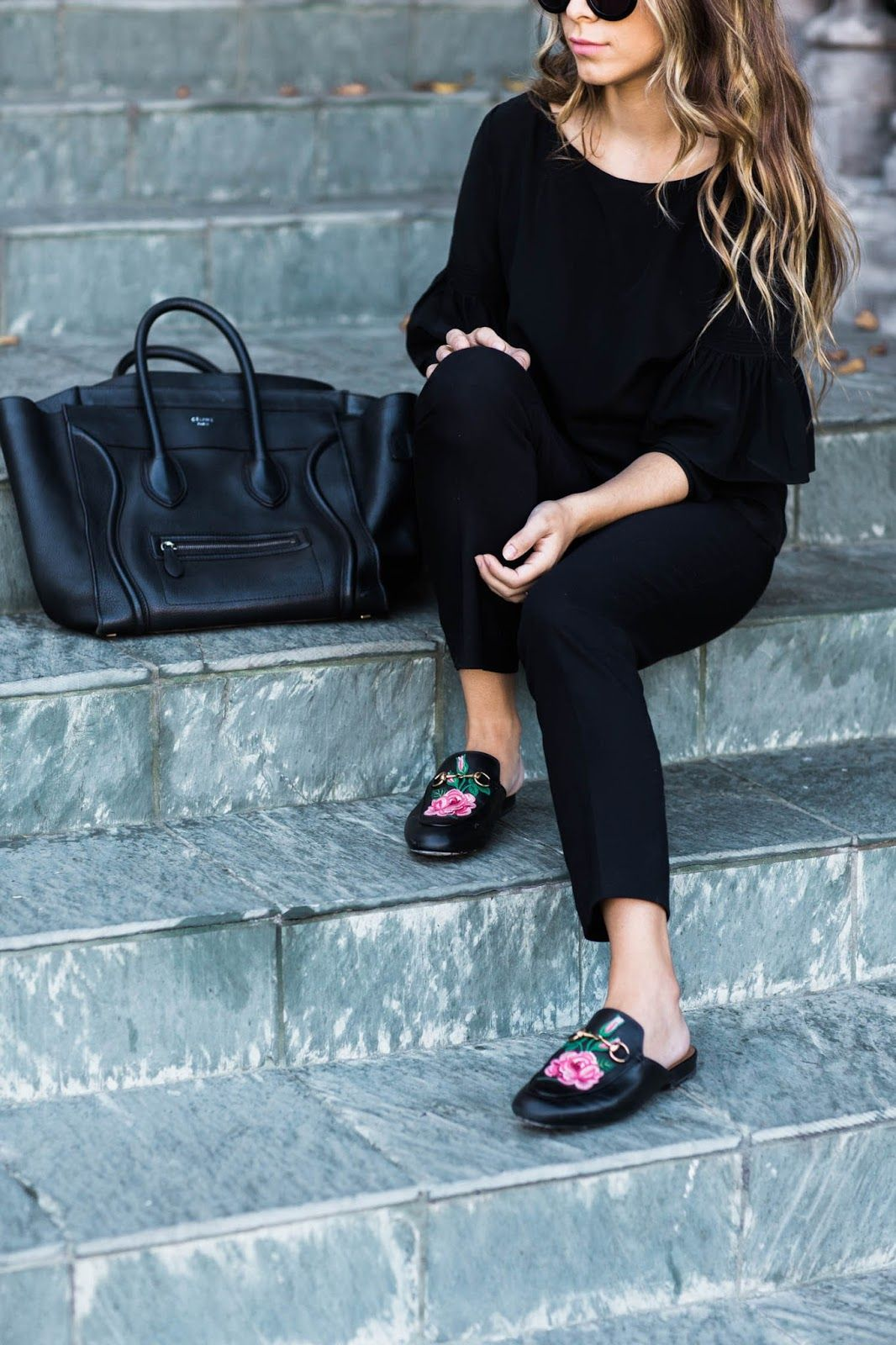 work outfit    gucci slides    celine   -SHE WENT WEST- in 2019 ... 50bf5467ab