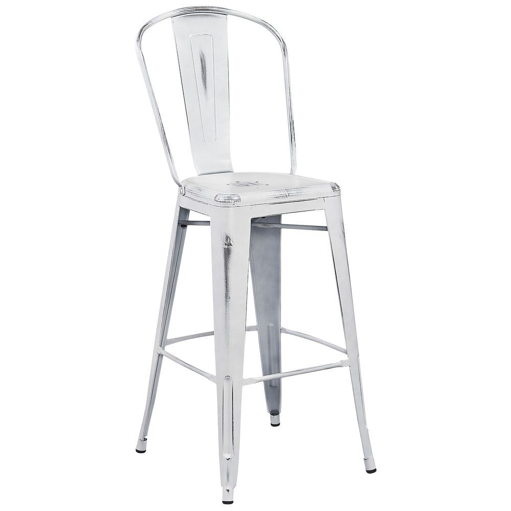 Flash Furniture Et 3534 30 Wh Gg Distressed White Metal Bar Height Stool With Vertical Slat Back And Drain Hole Seat With Images Bar Stools Home Decor Kitchen Metal Bar Stools