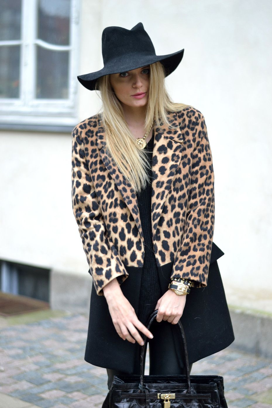 My style yesterday for more visit: http://www.fashionmanifest.dk  #fall #fashion #streetstyle #2013 #Leopard #hat #fedora #coat #rudiogharald #bag #blogger #blonde #hair