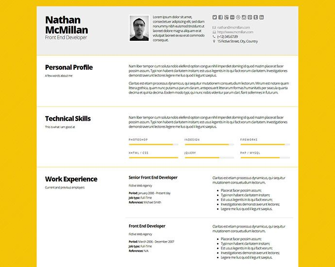 Professional Html Resume Templates