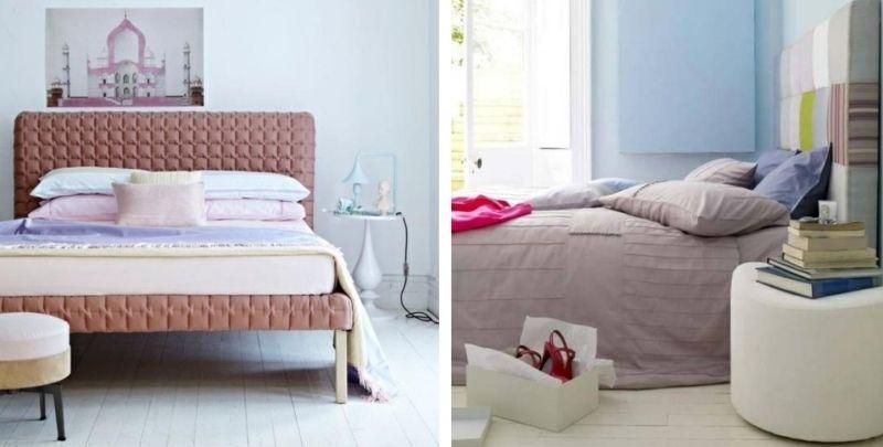 chambre adulte en bleu pastel et rose poudré