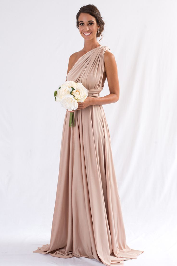 Luxe satin multiway infinity dress in light gold bridesmaids