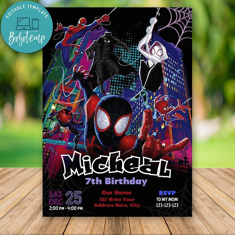 Editable Spider Man Into The Spider Verse Party Invite Diy Spiderman Birthday Invitations Spiderman Birthday Party Party Invitations Diy