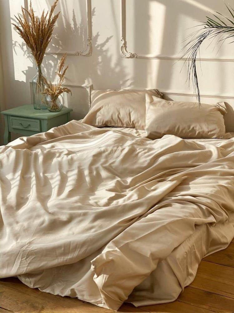 Beige Cotton Elit Sateen Bedding Set Cotton Sateen Duvet Cover And Pillowcases Set King Queen S King Duvet Cover Sets Satin Bedding Comfortable Bedroom Decor