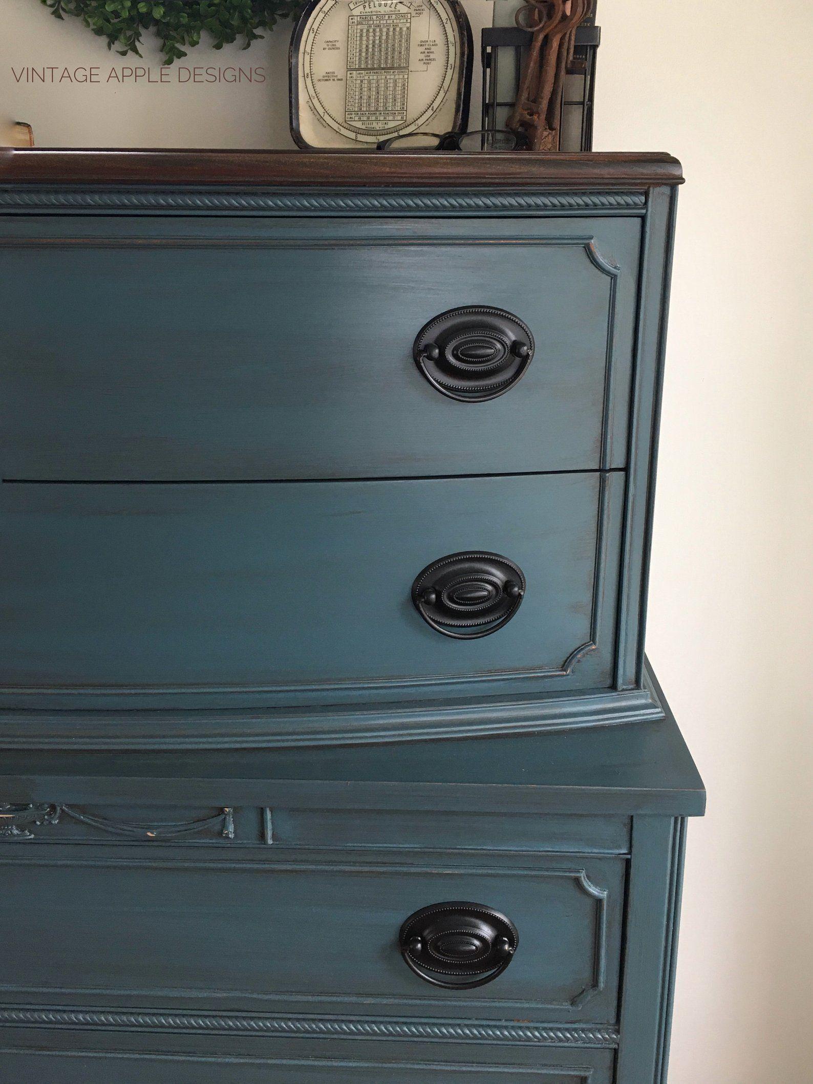 SOLD Blue Thomasville Dresser Tallboy Mahogany Farmhouse