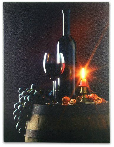 Wall Art with LED Lights Canvas Print Lighted Candle and Wine Glass Picture - Wine and Candlelight by Banberry Designs ... & Wall Art with LED Lights Canvas Print Lighted Candle and Wine Glass ...