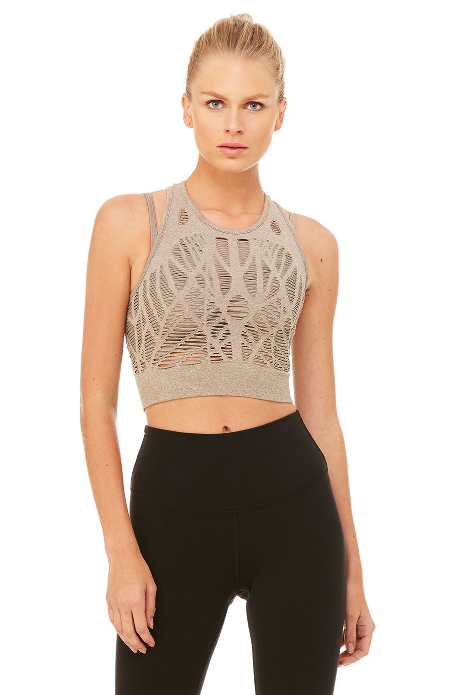 Alo Yoga Womens Vixen Fitted Crop Tank