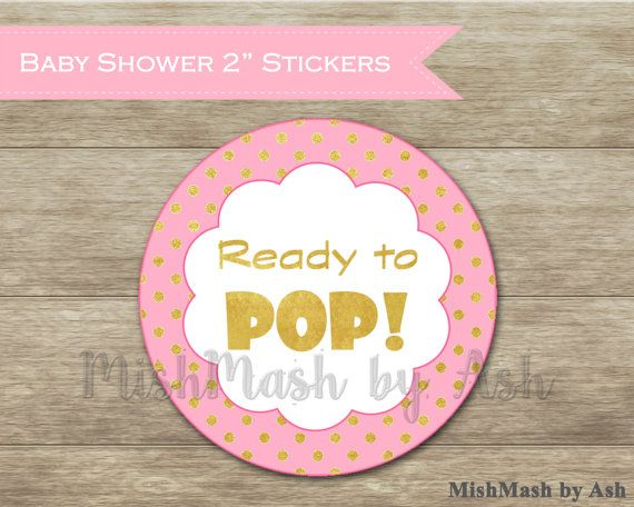 Pink and Gold Baby Shower Stickers Ready to Pop Stickers