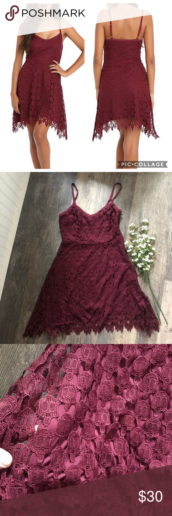 "Hot Topic | Burgundy Lace Skull Dress Excellent used condition Hot Topic Burgundy Dress Skull lace overlay, adjustable straps, side zipper  Measurements: Pit to pit-16"" Waist-14"" Length-36"" All measurements are approximate hand measurements taken while the garment is laying flat. No trades, open to offers! Hot Topic Dresses #hottopicclothes Hot Topic 