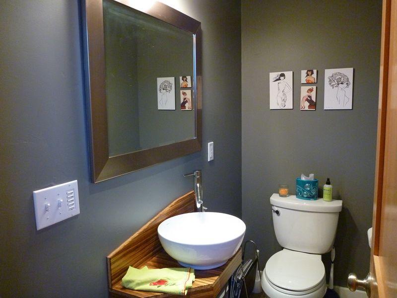 Interior Bathroom With Dark Gray Paint Color Decorations