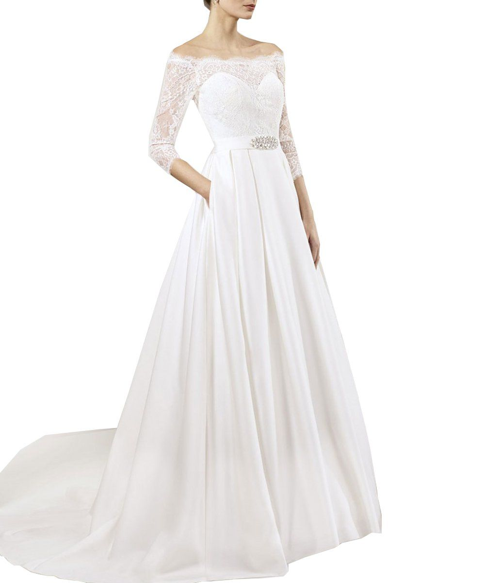 Womens gorgeous off the shoulder half sleeves lace wedding dress for