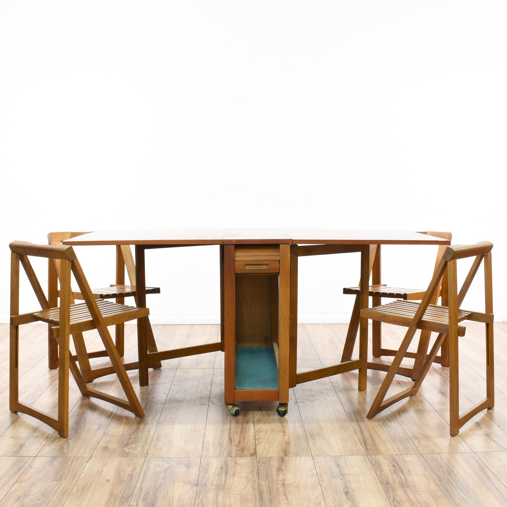Drop Leaf Hideaway Dining Table 4 Folding Chairs Mid Century