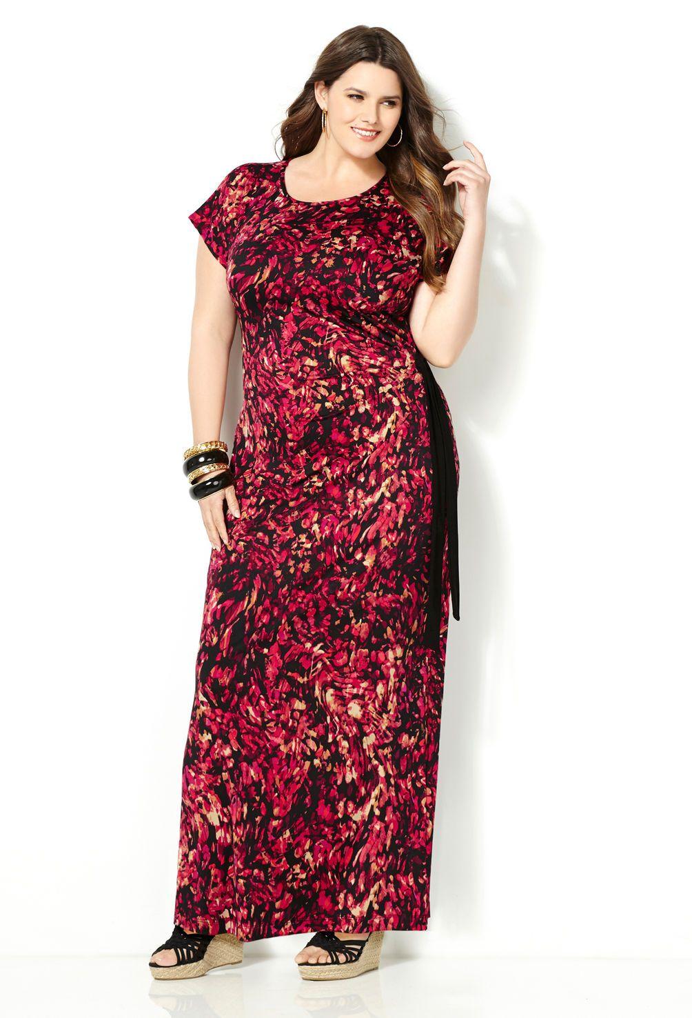 Brushed Floral Maxi Dress Plus Size Maxi Dress Avenue Red Floral Maxi Dress Plus Size Fashion Plus Size Maxi Dresses [ 1476 x 1004 Pixel ]