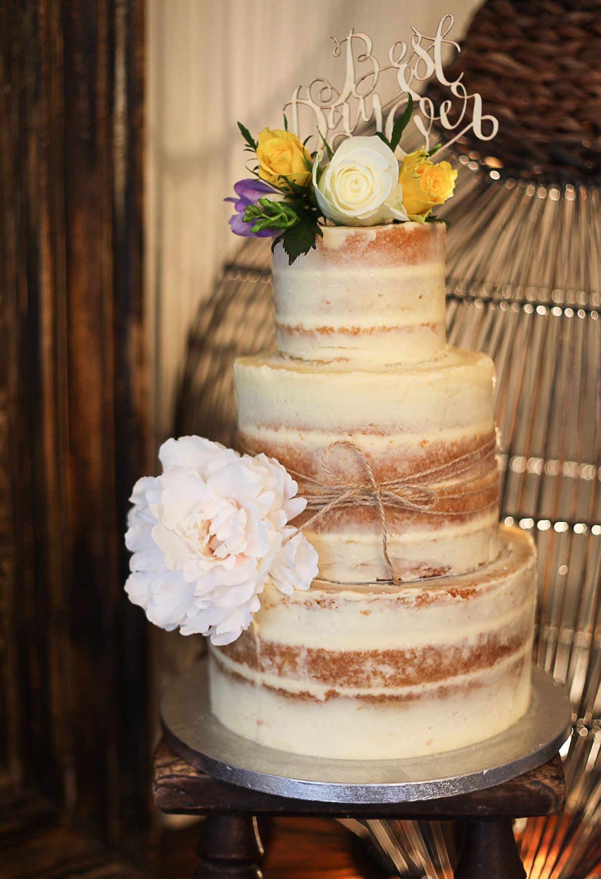 A Bespoke Cakes 3 Tier Rustic Semi Wedding Cake With Fresh Flowers And Burlap