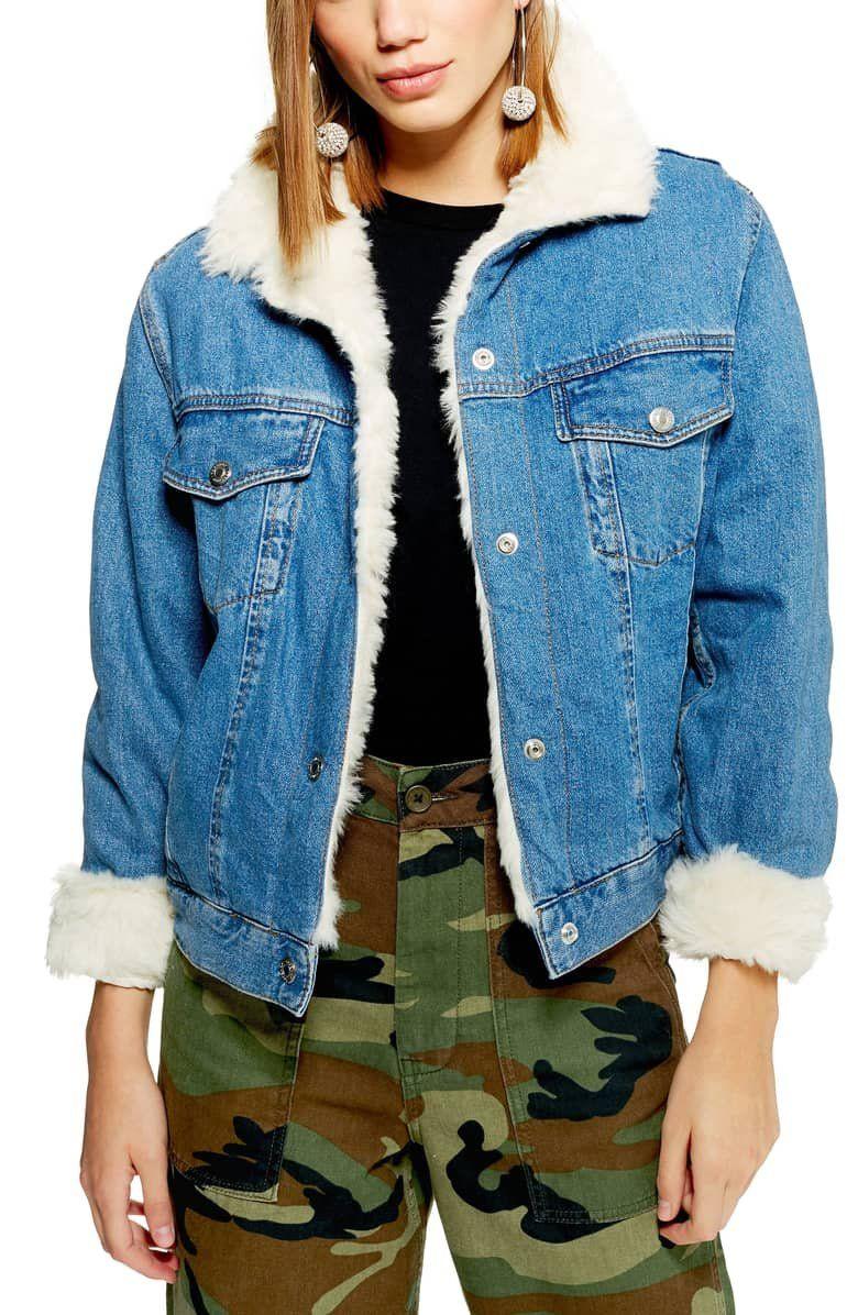 Topshop Faux Fur Denim Jacket Nordstrom Denim Jacket With Fur Denim Jacket Denim Utility Jacket [ 1196 x 780 Pixel ]