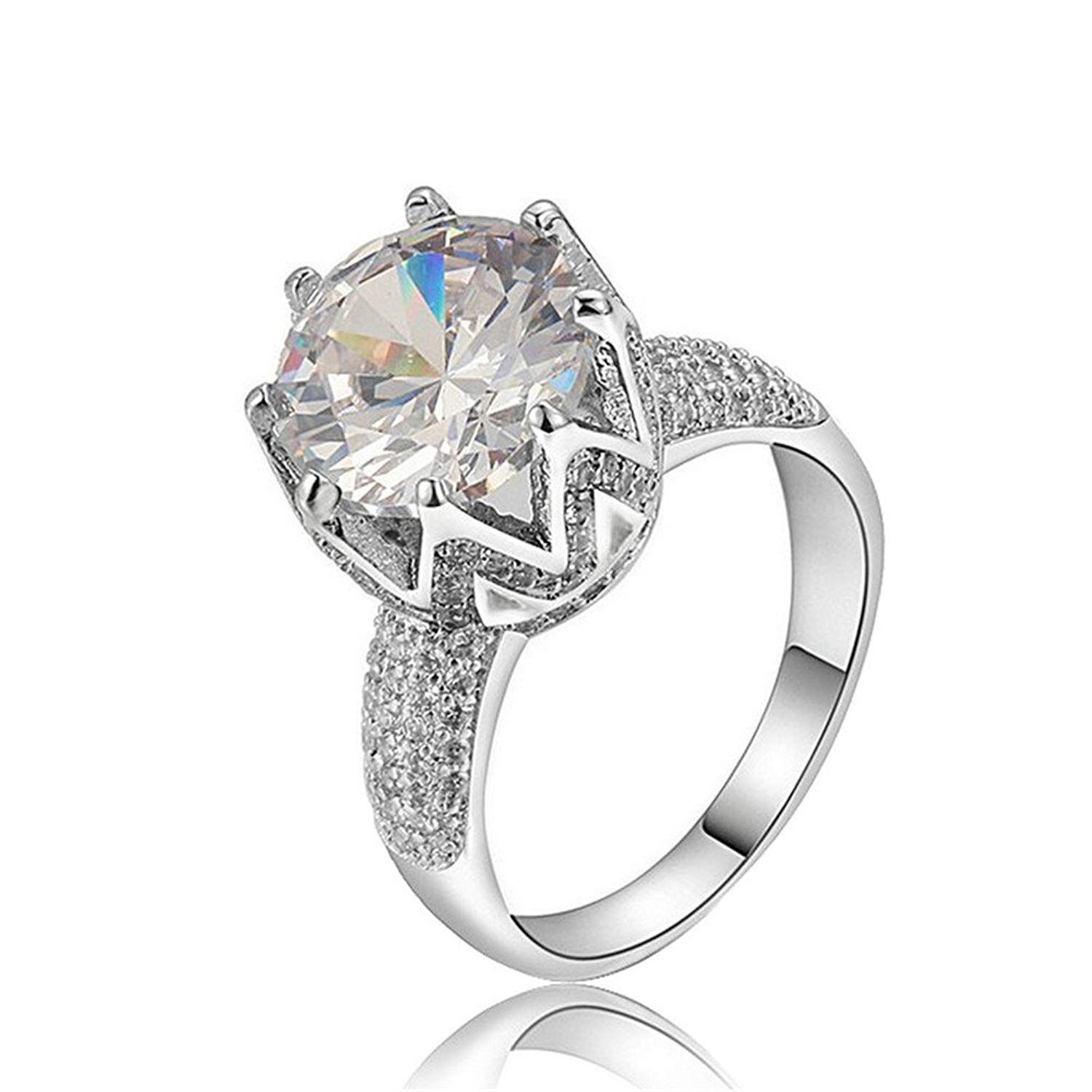 Tenfit Jewelry Womens Luxury 18K White Gold Love Solitaire