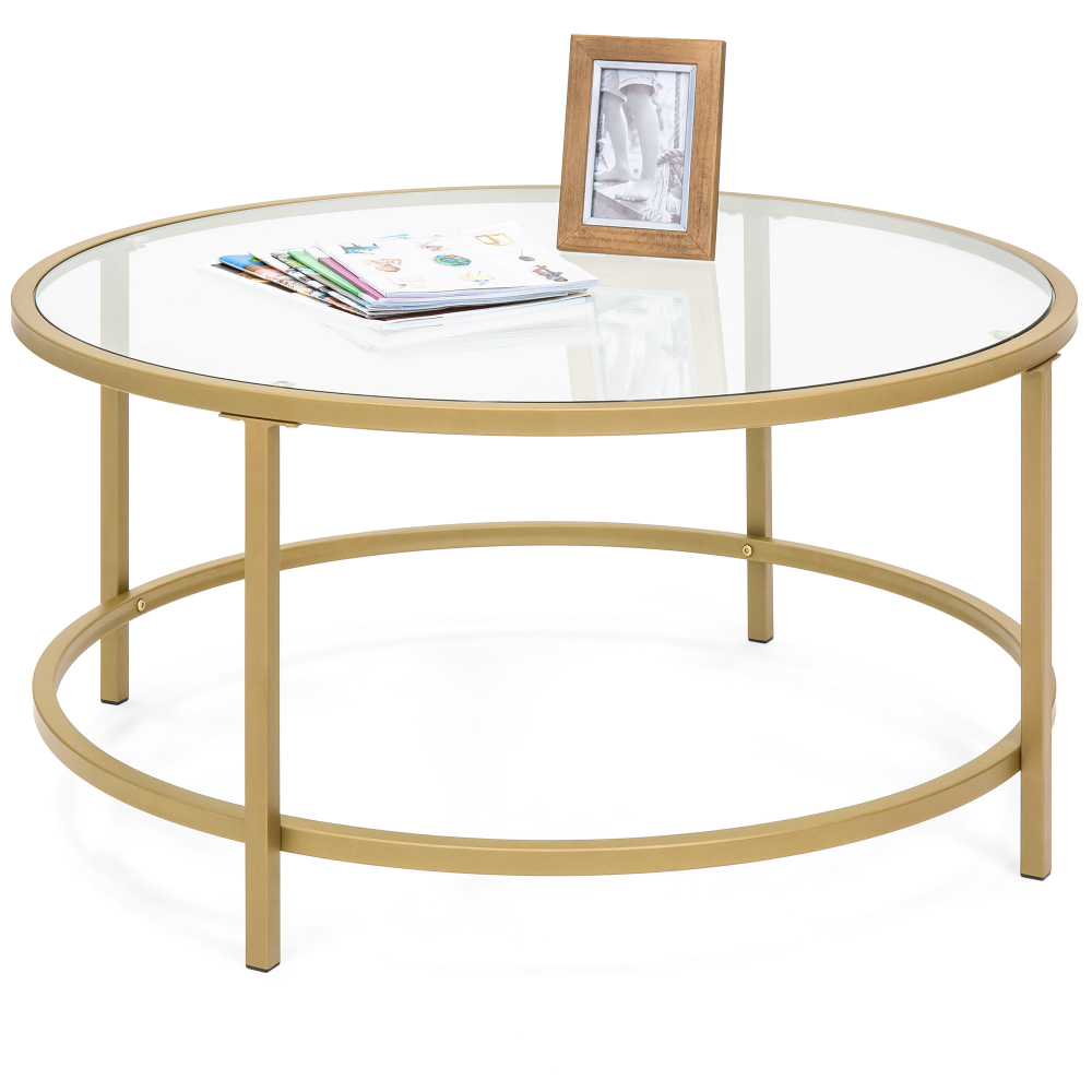 Best Choice Products 36in Round Tempered Glass Coffee Table W Satin Trim For Home Living Room Dining Room Gold Walmart Com Coffee Table Side Coffee Table Glass Coffee Table [ png ]