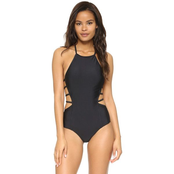 CHROMAT Amelia One Piece Swimsuit (335 CAD) ❤ liked on Polyvore featuring swimwear, one-piece swimsuits, black, black one piece swimsuit, one piece swimsuits, black halter swimsuit, slimming bathing suits and 1 piece swimsuit