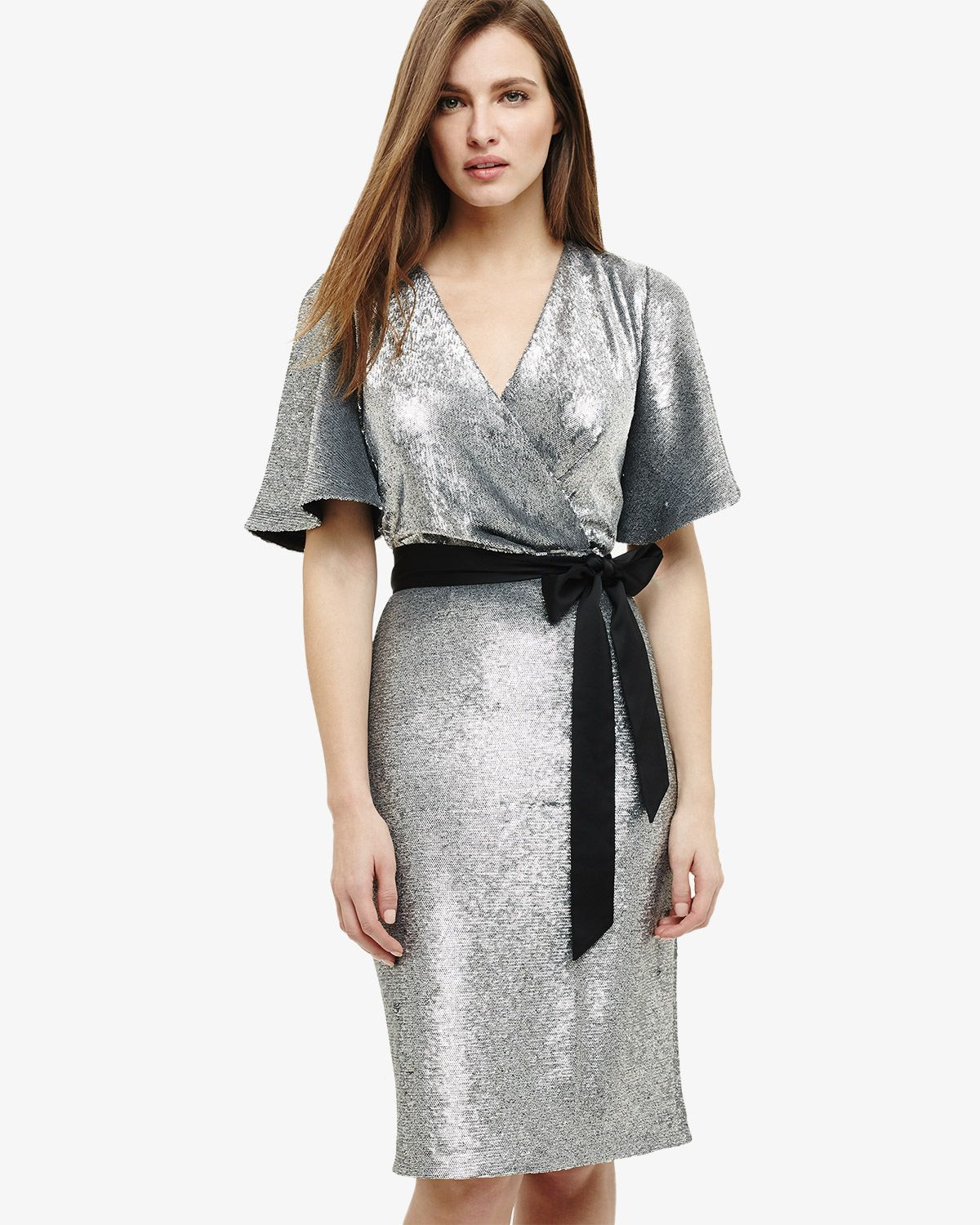 Niki Sequin Dress | Silver | Phase Eight | Wedding guest ...