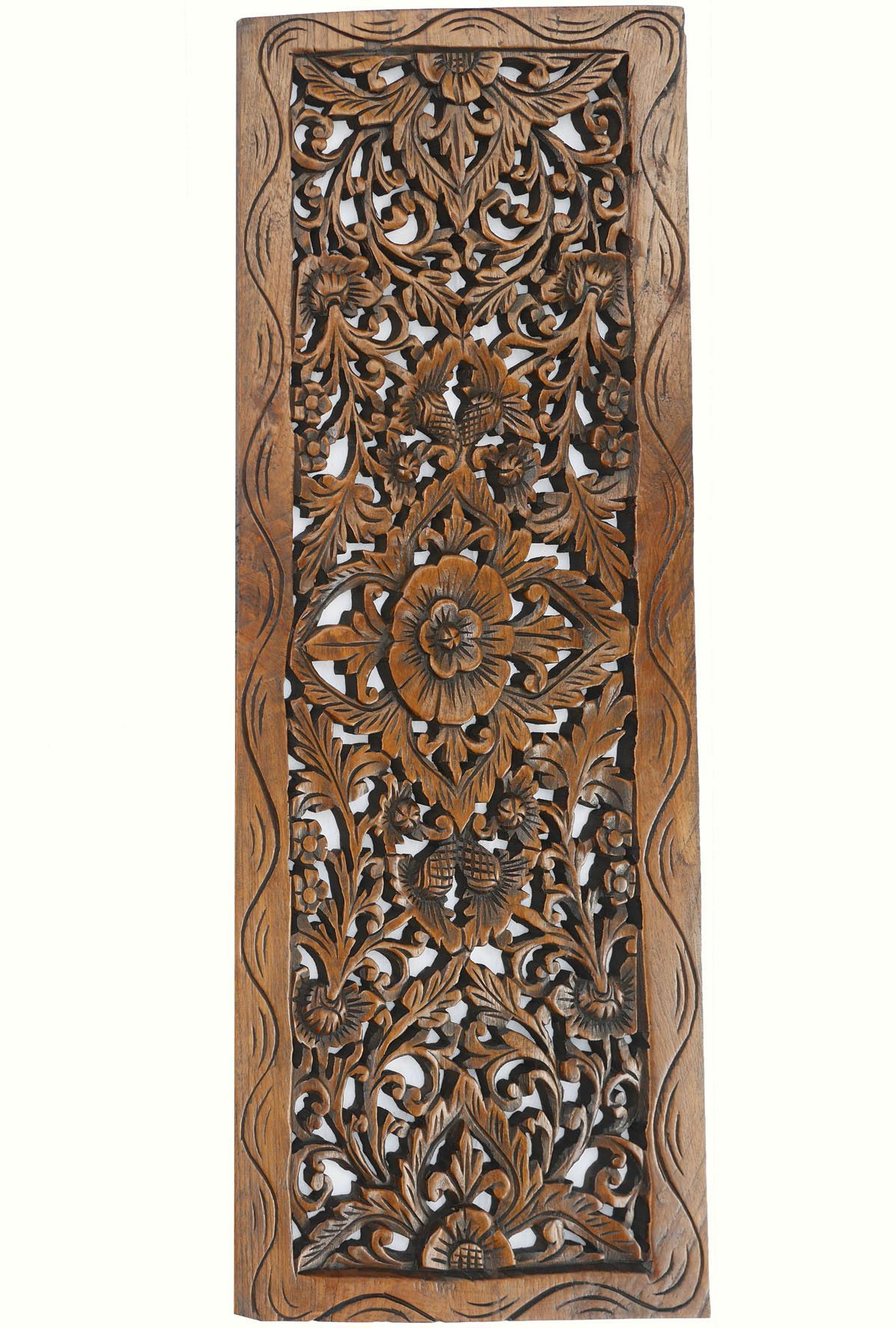 Fl Wood Carved Wall Panel Decorative Thai Relief