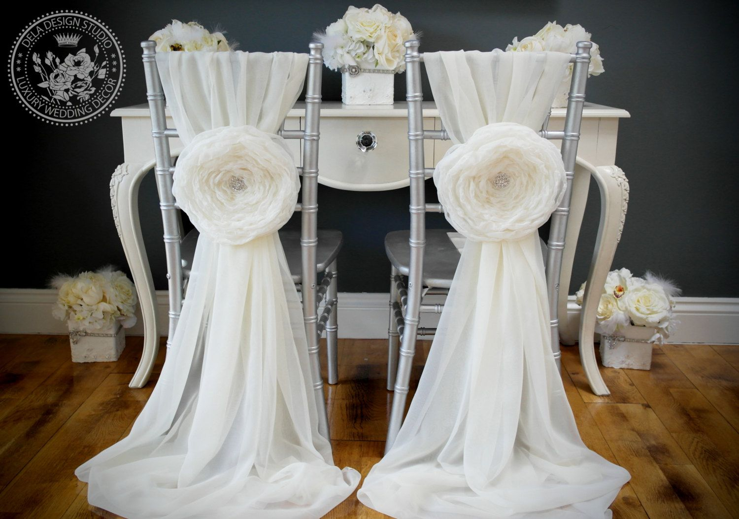 Wedding Large 10 Fabric Flower Chair Cover by