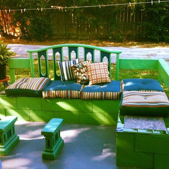 DIY outdoor cinder block sectional made out of an old ... on Life Outdoor Living Block id=97842