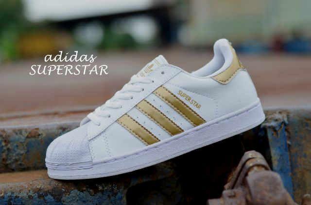 Jual Sepatu Wanita Adidas Superstar Putih Gold Impor Vietnam