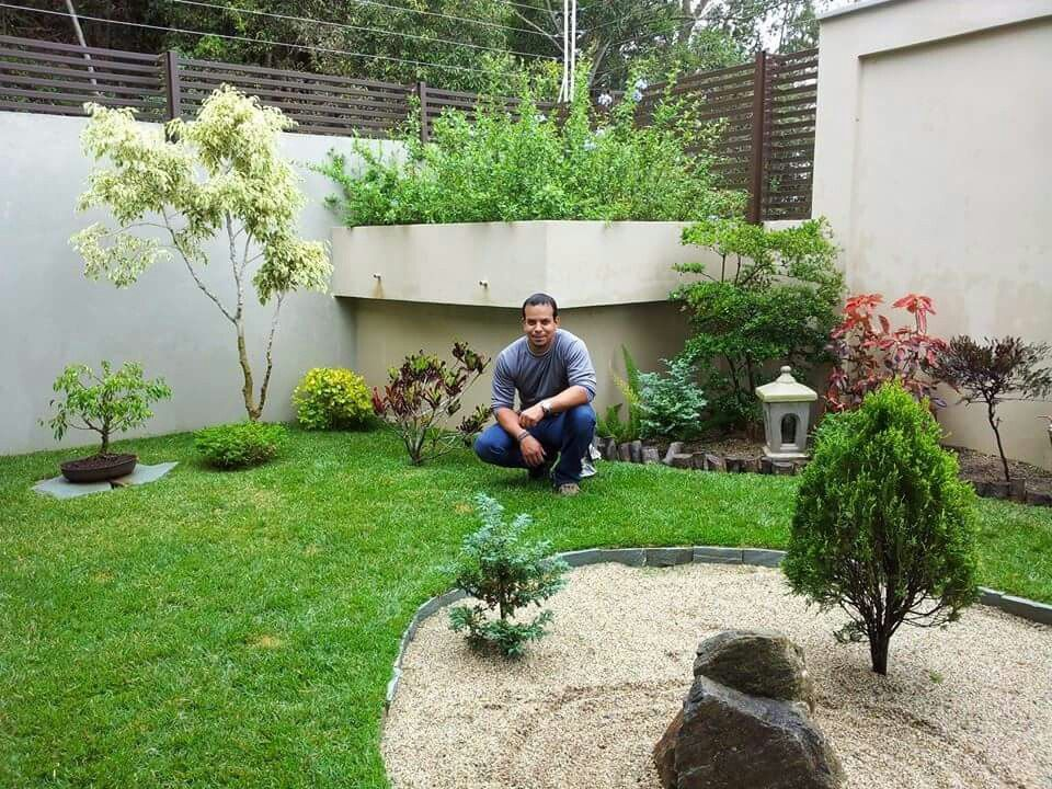 jardn zen oriental con diferentes elementos y plantas como piedras de rio troncos