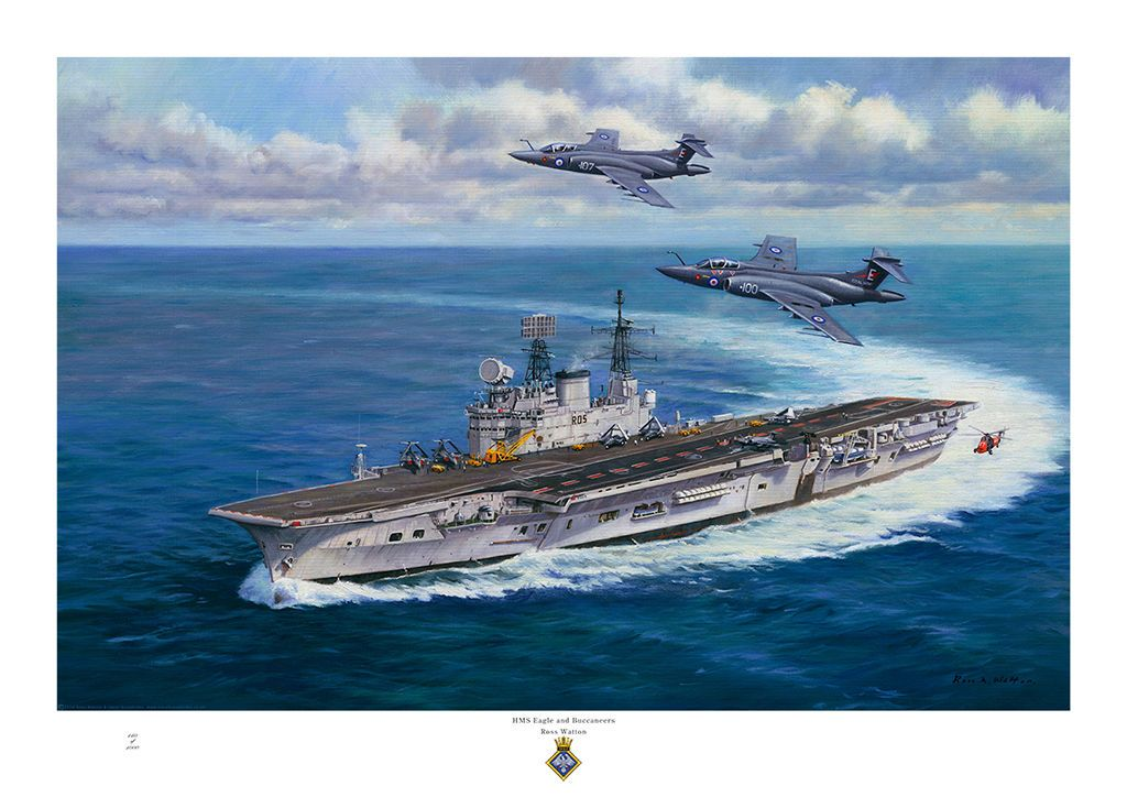 Ross Watton Ship Paintings HMS Eagle Hms ark royal