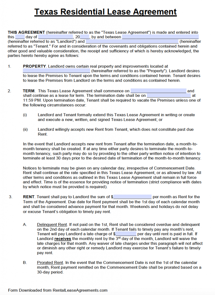 Texas Standard Residential Lease Agreement Template PDF