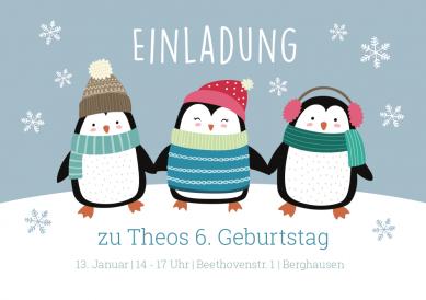 Lustige, Winterliche Einladungskarte Zum 6. Geburtstag In Blautönen Mit  Niedlichen Pinguin Freunden