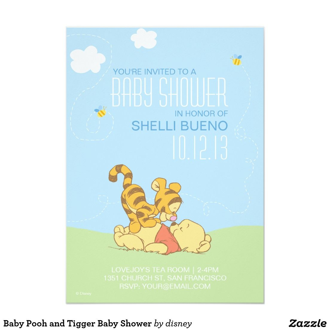 Personalized Disney baby shower invitations. Featuring Baby Pooh and ...