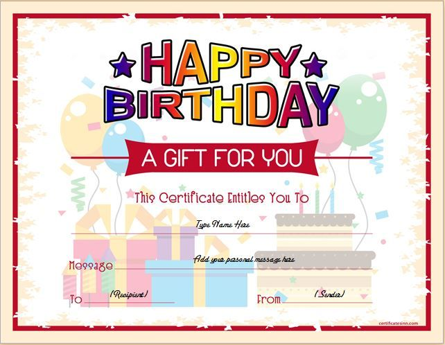 Birthday Gift Certificate for MS Word DOWNLOAD at