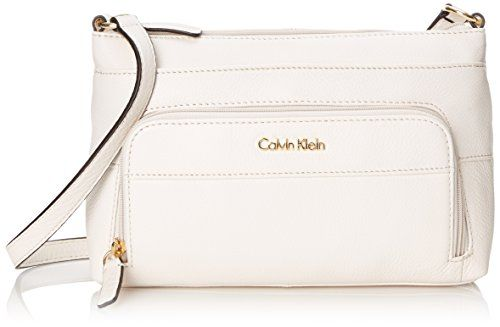 Calvin Klein Pebble Leather Organizer Cross Body Bag White One Size *** Click on the image for additional details.Note:It is affiliate link to Amazon.