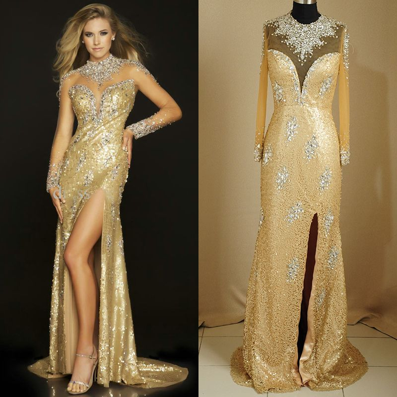 Best Selling Gold Beaded See Through Prom Dresses High Collar Long ...
