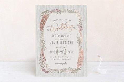"""Woodland Wreath"" - Rustic, Modern Foil-pressed Wedding Invitations in Oak by Hooray Creative."