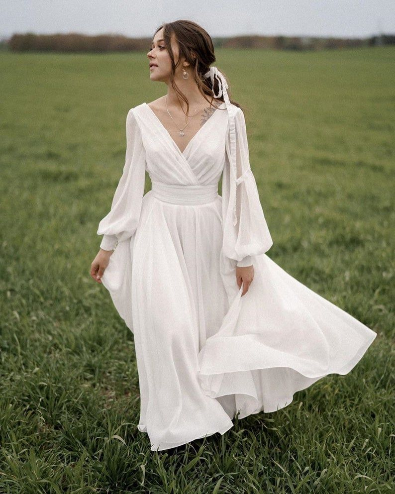 Midi A Line Open Back Chiffon Wedding Dress Paulina With Long Sleeves By Ange Etoiles Bride Dress Vintage Flowy Dress Long White Flowy Dress [ 993 x 794 Pixel ]