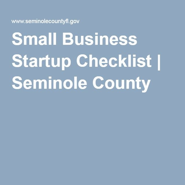 Small Business Startup Checklist Seminole County Start a - business startup checklist