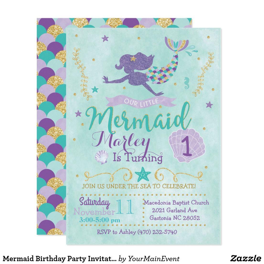 Mermaid birthday party invitation purple teal gold birthdays