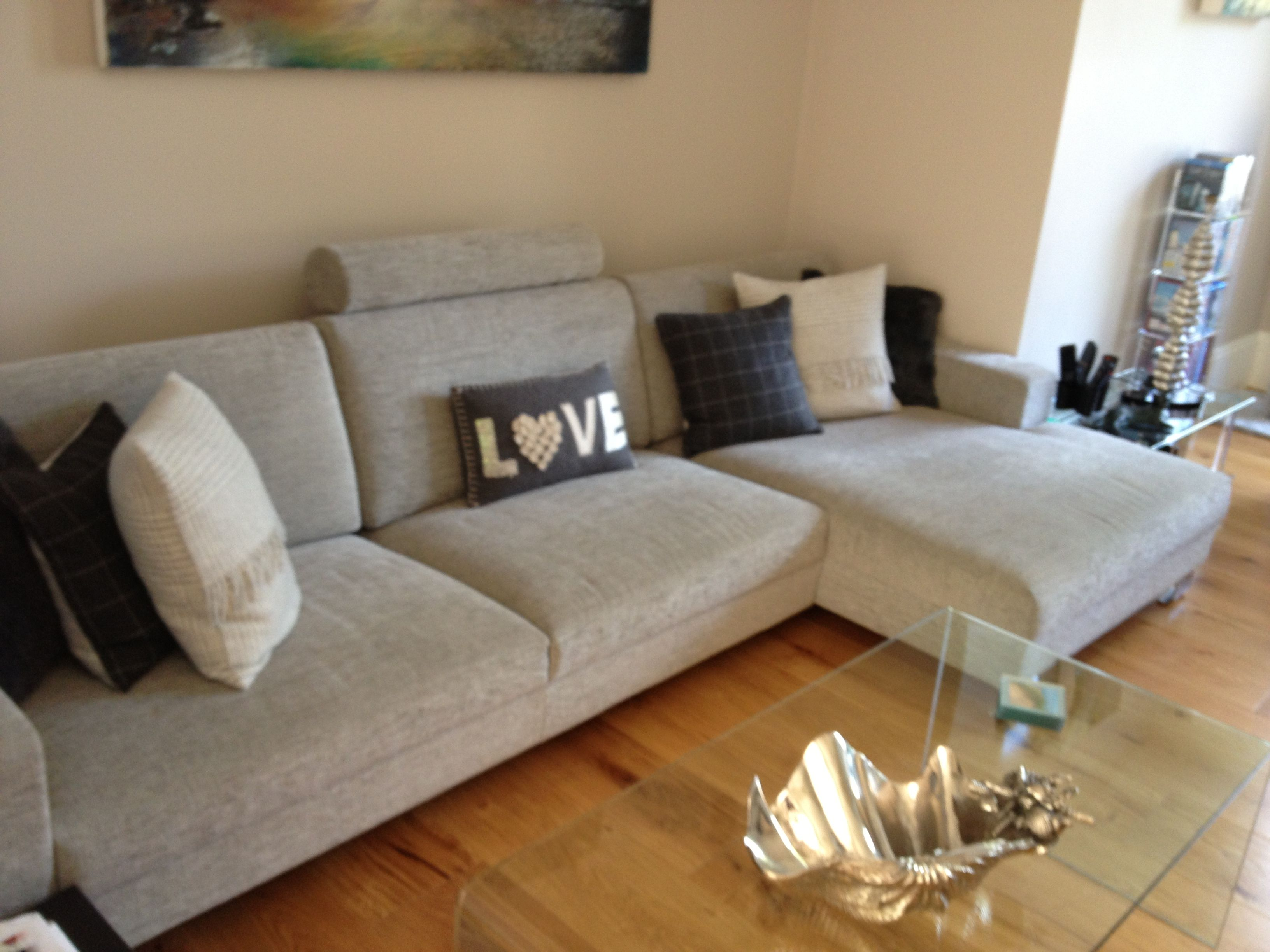 Corylus Low And Deep Contemporary Sofa Chaise Sectional Seating In Light Grey