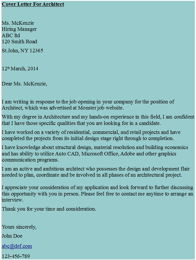 Cover Letter For Architect  Hipcv Resume Tips  Articles