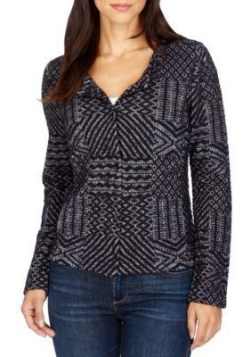 Lucky Brand Girls' Jacquard Sweater - Blue Multi - Xs