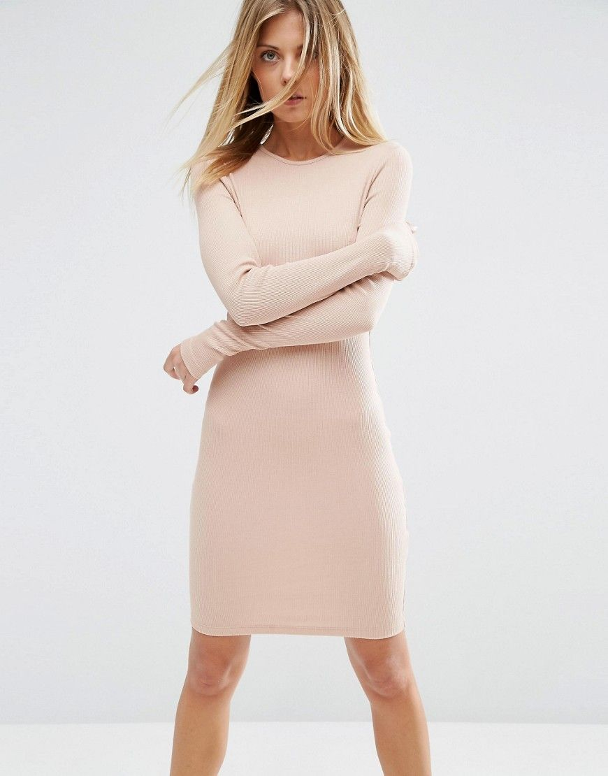 Mini Bodycon Dress in Rib with Long Sleeves | Pinterest | lange ...