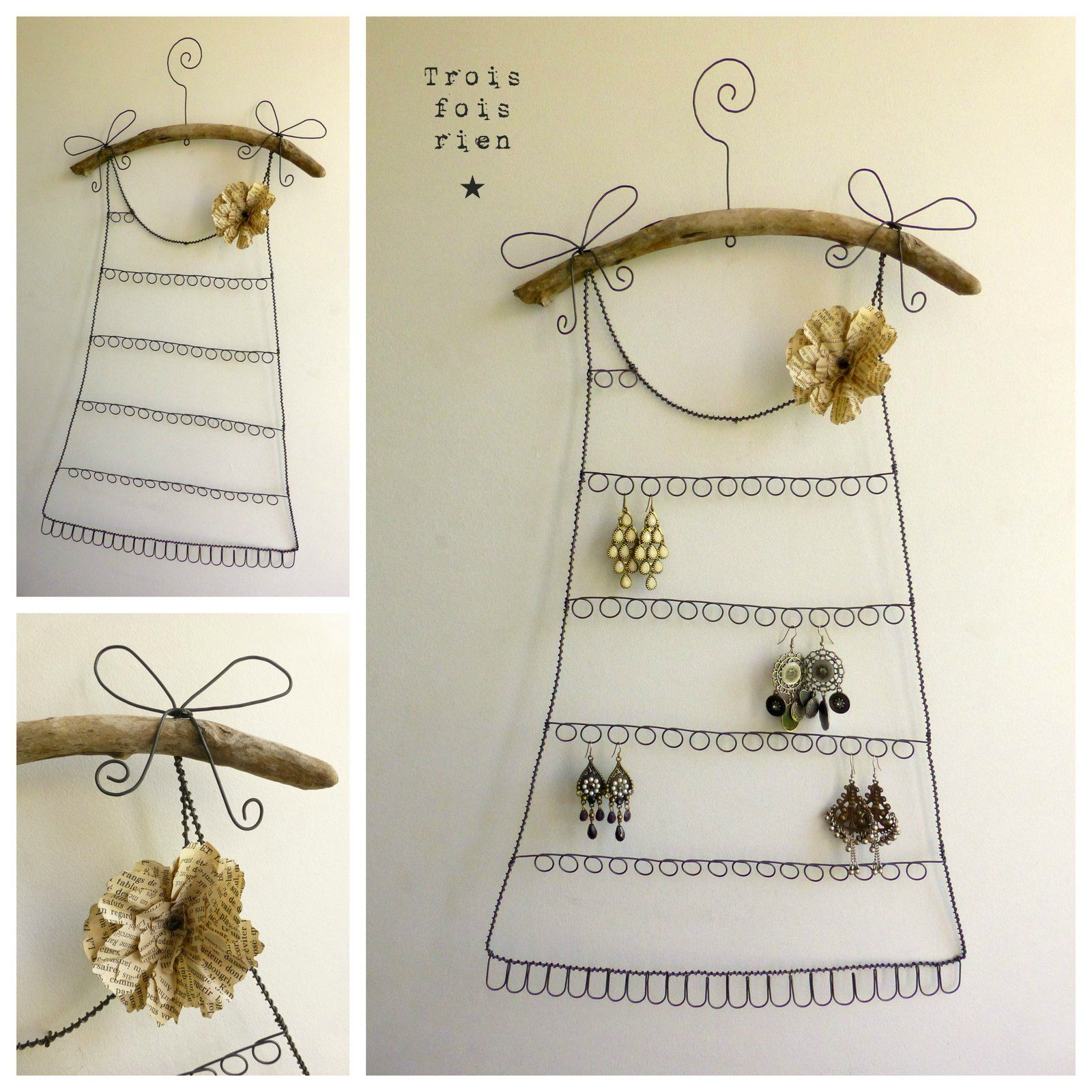 porte boucles d 39 oreilles fil de fer n 24 robe fil de fer trois fois rien wire diy. Black Bedroom Furniture Sets. Home Design Ideas