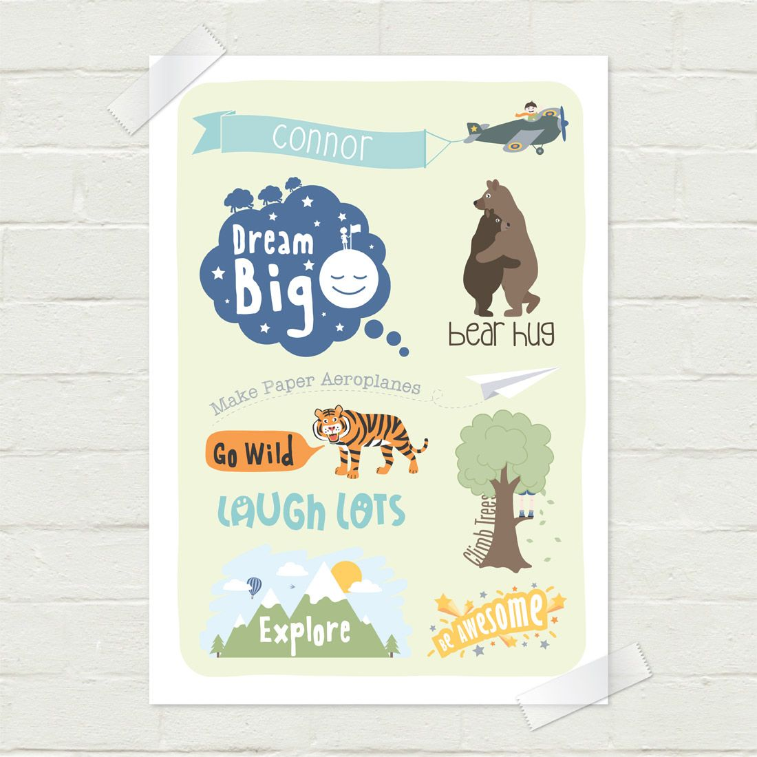 Personalised Boys Light Blue Green Inspirational Wall Print