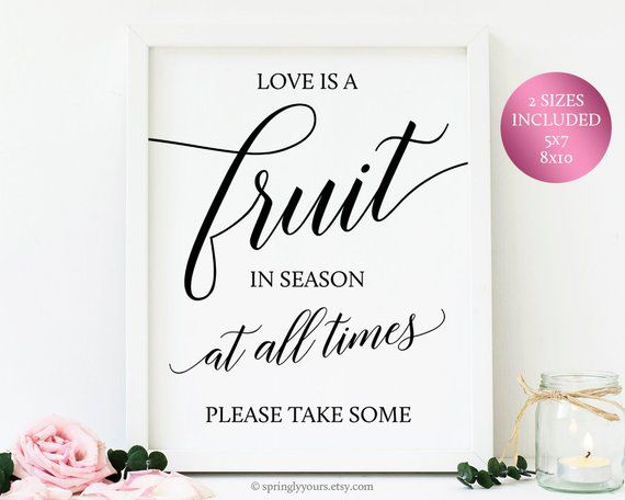 Wedding Fruit Bar Sign, Wedding Fruit Table Decorations, Rustic Wedding Reception Signs, Wedding Printables Wedding Fruits Farm Wedding Sign